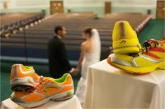 Used our shoes- we had too!- it was a running theme wedding!