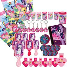 My Little Pony Party Favors & Bags 48 Assorted Favors 8 Favor Bags Rainbow Dash Birthday, Rainbow Dash Party, My Little Pony Birthday Party, 5th Birthday Party Ideas, Kids Party Themes, Unicorn Birthday Parties, 4th Birthday, Cumple My Little Pony, Little Pony Cake