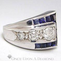 Retro 1.13ctw Blue Sapphire & Diamond Curve Around Ring White Gold