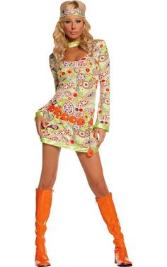 #partycity  #halloween Adult Groovy Chick Hippie Costume -1960s-1980s Costumes -Womens Costumes -Halloween Costumes - Party City