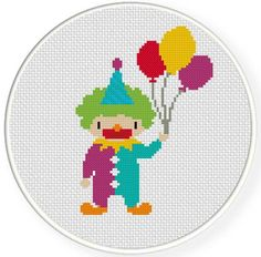 INSTANT DOWNLOAD Stitch Clown with Balloons by DailyCrossStitch, $2.99