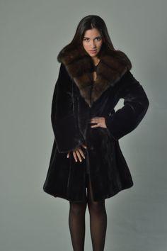 Luxury gift/ Black Saga MInk Fur Coat /Fur jacket/ Full by skffurs