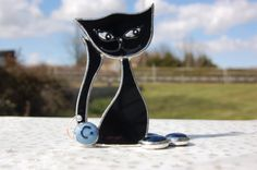 Free standing Ornament, Imelda Cat  with mouse Stained Glass Sun Catcher. via Etsy