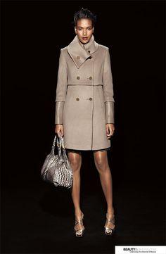 Elie Tahari Leather Trim Wool Coat
