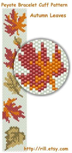 Autumn Leaves fall fashion Pattern Peyote Bracelet by rill, ₪12.00