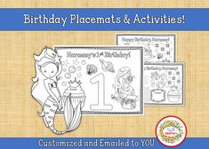 Personalized Mermaid, Custom Birthday Party Printable, Kid's Mermaid Coloring Activity Sheet, Birthday Coloring Printable, Counting Activities, Color Activities, Hard Mazes, Kids Table Wedding, Kindergarten Blogs, Birthday Coloring Pages, Learn To Spell, Mermaid Coloring, Learning Resources