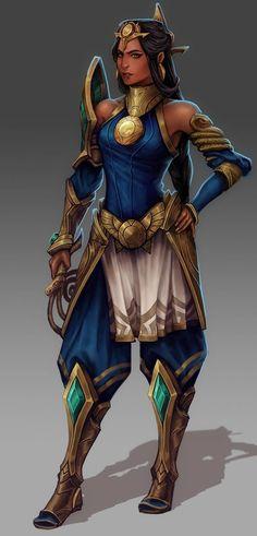 Jeu vidéo : League of Legends / Nasira, Viper of the Sands by Thomas Randby / Character concept, an original champion for League of Legends!   / https://www.artstation.com/artwork/aaWJk