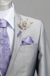 wedding suit with purple printed ascot - Google Search
