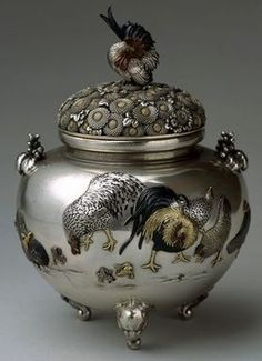 Home Office Storage Decorated Old Flower Handwork Porcelain & Tibet Silver Belle Incense Burner Copper Decoration Real Tibetan Silver Brass