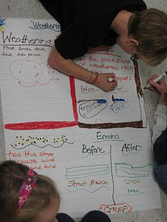 students making anchor charts for weathering and erosion
