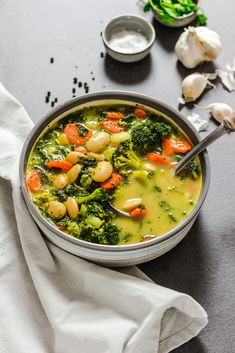 Veggie-Loaded White Bean Soup | Veggie Jam English