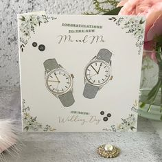 Congratulations to The New Mr and Mr on Your Wedding Day - Watches, Handfinished Wedding Card with Crystals Stoke On Trent, Ticks, On Your Wedding Day, Wedding Couples, Wedding Cards, Envelope, Congratulations, Handsome, Pastel