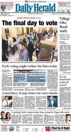 Daily Herald front page, Nov. 6, 2012