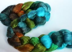 Hand Dyed roving Mulberry silk brick 33ozs by FiberArtemis