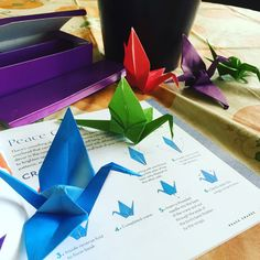 From my book: Origami Mobiles, a picture of a customer's progress in folding her own paper cranes.