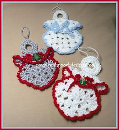 Crochet Squares Design Granny Square Angel Ornament Crochet Pattern This is the Pattern in our Series of Vintage Crochet Patterns With a Modern Twis. Crochet Christmas Decorations, Crochet Ornaments, Christmas Crochet Patterns, Crochet Snowflakes, Holiday Crochet, Angel Ornaments, Crochet Crafts, Crochet Projects, Free Crochet