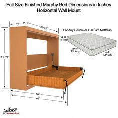 Wall Bed Frame And Mechanism Kits For Twin Single Size . 27 DIY Murphy Beds To Save Space In A Small Room - Home . Home and Family Diy Murphy Bed Kit, Murphy Bed Frame, Full Murphy Bed, Murphy Bed Desk, Murphy Bed Plans, Murphy Table, Cama Murphy, Murphy-bett Ikea, Horizontal Murphy Bed