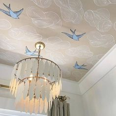 You may still be coming around to the idea of statement wallpaper or temporary wallpaper, but we've got an even crazier idea for you: wallpaper on the ceiling. Ceiling Murals, Ceiling Panels, Ceiling Decor, Ceiling Design, Wallpaper Ceiling Ideas, Bedroom Ceiling Wallpaper, Sky Ceiling, Bedroom Wall, Wall Murals