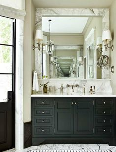 Elegant Contrasting Bathroom Design | photo Erica George Dines seen on Atlanta Homes & Lifestyles | House & Home
