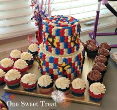 4th of July birthday cake and cupcakes. #4thofJuly #IndependenceDay #OneSweetTreat #gymnastics