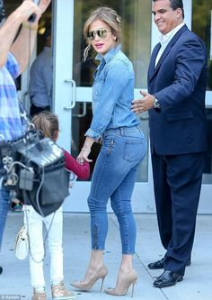 Jennifer Lopez steps out with her two kids in New York as she rocks denim on denim