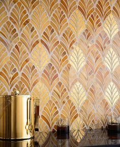 Margot, a handmade mosaic shown in Tiger's Eye Jewel Glass and 24K Gold Glass, is part of the Aurora™ Collection by Sara Baldwin for New Ravenna.<br /> <br /> For pricing samples and design help, click here: http://www.newravenna.com/showrooms/