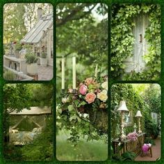 Romantic green collage