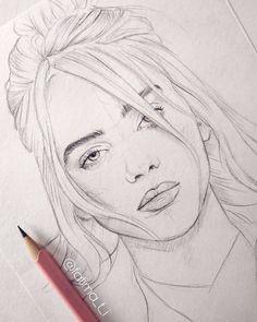 A pencil sketch of Billie Eilish fatima pencil art fatima pencil sketch artoftheday art art # Pencil Sketch Drawing, Girl Drawing Sketches, Art Drawings Sketches Simple, Pencil Art Drawings, Animal Drawings, Cute Drawings, Drawing Art, Drawing Ideas, Easy Portrait Drawing