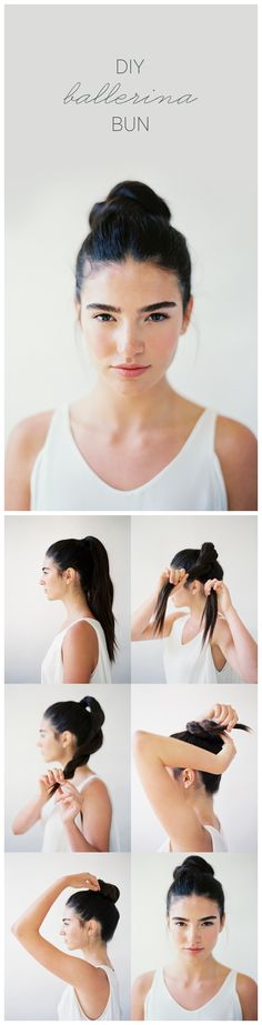 DIY BALLERINA BUN TUTORIAL  1. Take all the hair up and tie in a ponytail at the crown of the head.  2. Loosely rope-braid the ponytail.  3. Secure the rope braid with a small elastic band.  4. Wrap ponytail around in a bun tucking the end underneath.  5. Bobby pin securely in place.  6. Lightly pull out loose strands to create an effortless finish. Ballerina Bun would be best.