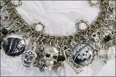 Dia De Los Muertos Vintage Inspired Charm Bracelet