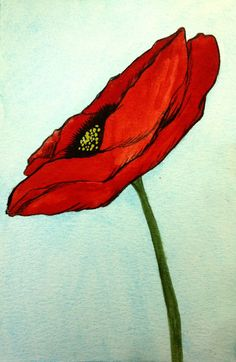 Single Poppy Original Watercolor Art by Alison on Etsy Watercolor And Ink, Watercolor Flowers, Watercolor Paintings, Poppies Art, Red Poppies, Art And Illustration, Medium Art, Flower Art, Art Flowers