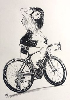 Sailor Lepin, Bicycle, Girl, Anime Black and White Art Anime Sketch, Drawing Sketches, Art Sketches, Art Drawings, Manga Drawing, Manga Art, Character Drawing, Character Design, Comics Illustration