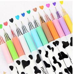 ( 12 pçs/lote ) 0.38 mm leite de vaca de plástico cor gel caneta papelaria caneta escola japonês bonito para escola varejo