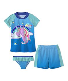 Sunshine Swing  This Blue Unicorn Short-Sleeve Rashguard Set - Toddler & Girls is perfect! #zulilyfinds