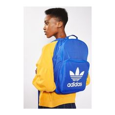 Trefoil Backpack by Adidas Originals ($28) ❤ liked on Polyvore featuring bags, backpacks, blue, blue backpack, logo bags, blue bag, backpack bags and polyester backpack