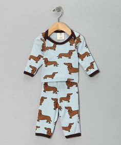Little daucshund outfit!   Take a look at this Light Blue Got Dogg? Tee & Pants - Infant by Mad Boy on #zulily today!