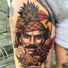 Funny Tom Selleck tattoo by Fru Duva...