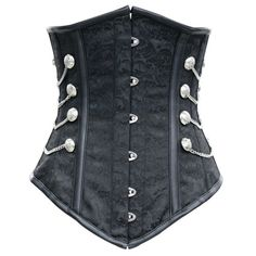 CD-574 - Black Brocade Long Line Steampunk Underbust with Silver Detail - Clearance - SALE   NEED THIS!