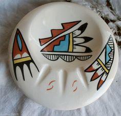 Vintage ? Painted Pottery Ashtray Bowl Signed ES Jemez *