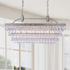 This is it for Dining Room!  Antique Silver 6-light Rectangular Glass Droplets Chandelier - - Amazon.com