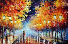 WALK UNDER THE RAIN - Oil painting by Leonid Afremov. One day offer - $99 include shipping https://afremov.com/WALK-UNDER-THE-RAIN-PALETTE-KNIFE-Oil-Painting-On-Canvas-By-Leonid-Afremov-Size-24-x36-60cm-x-90cm.html?bid=1&partner=20921&utm_medium=/offer&utm_campaign=v-ADD-YOUR&utm_source=s-offer