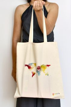 Eco-friendly tote bag with colorful world map print- take care of the planet and enjoy this beautiful print! Cotton Bag, Handmade Bags, Purses And Handbags, Eco Friendly, Reusable Tote Bags, Design Ideas, Hand Painted, Boutique, Business