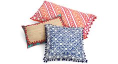 Manglam Arts' pillows are hand embroidered in India with intricate motifs that are inspired by Moroccan architectural details.
