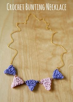 Crochet Bunting Necklace. #crochet #necklace #crochet