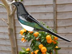 Fused glass magpie hanging ornament for by 1stGlassCreations