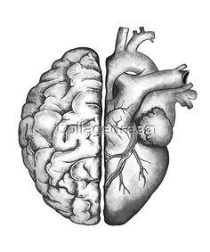 Anatomy Tattoo, Anatomy Art, Brain Tattoo, Human Heart Tattoo, Head Heart Hand, Brain And Heart, Human Brain Drawing, Drawing Hair Tutorial, Naruto Tattoo