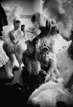 Showgirls sitting in the dressing room of the Stardust Hotel. Photograph by Ralph Crane. Las Vegas, Nevada, 1959.