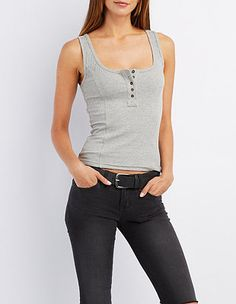 Ribbed Henley Tank Top, $15, Charlotte Russe