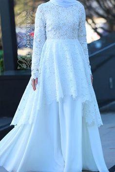 Haute Wedding Dress Muslimah Wedding Dress, Muslim Wedding Dresses, Muslim Dress, Stylish Dresses, Modest Dresses, Nice Dresses, Farewell Dresses, Hijab Dress Party, Dress Brokat