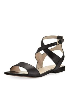 Cole Haan - Fenley Grand Ankle-Wrap Flat Sandal Flat Sandals, Leather Sandals, Flats, Celebrity Shoes, Shoe Sites, Cole Haan Shoes, Smooth Leather, Neiman Marcus, Open Toe